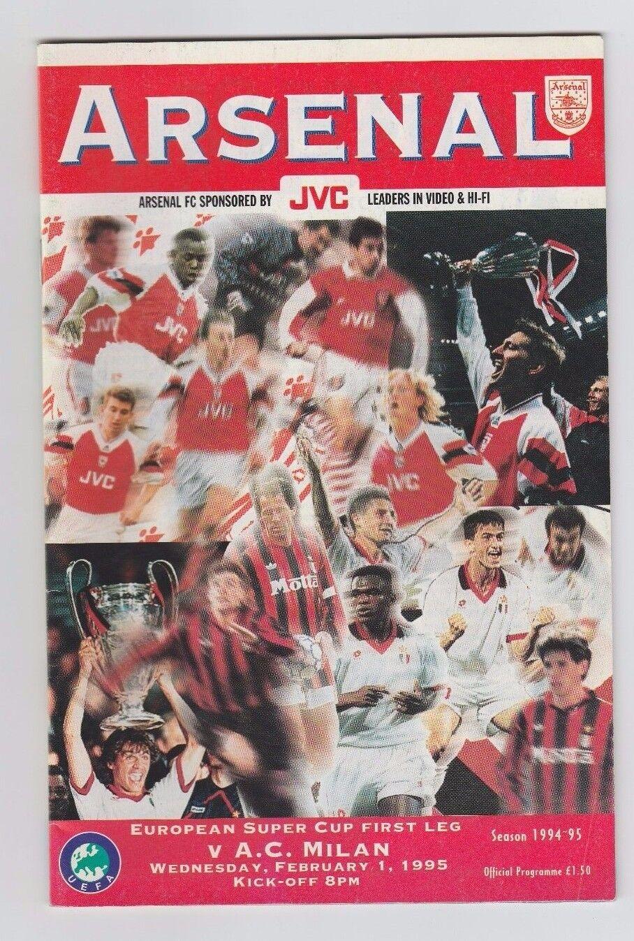 Orig.PRG   UEFA Super Cup 1994   FINALE   ARSENAL FC - AC MAILAND    SEHR SELTEN  | Vogue