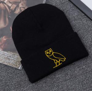 Winter Warm Elastic Hats Golden Owl Embroidery Wool Knit Women/'s Cotton Hat