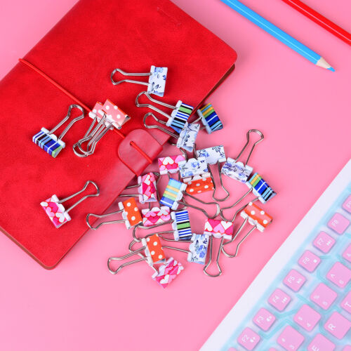 24pcs Cute Colorful Metal Binder Clips File Paper Clip Office Supplies 19mmBCD