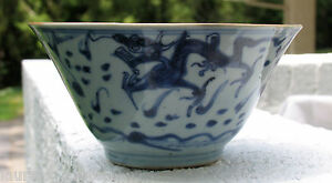 CHINESE-ASIAN-MING-OR-EARLY-QING-DYNASTY-3-DRAGON-3-CLAWS-BOWL-BLUE-WHITE-GLAZE