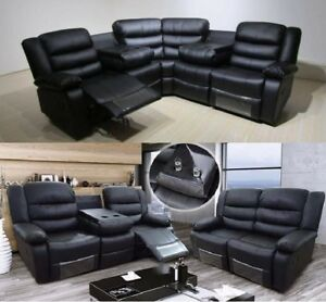 Harveys-Corner-Sofa-3-2-Seater-Sofa-Black-Leather-Recliner-With-Drinks-Holder