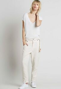 NEW-228-Free-People-FP-One-Heirloom-Waffle-Ivory-Cotton-Pant-Sz-2