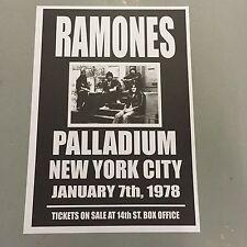 RAMONES - CONCERT POSTER PALLADIUM NEW YORK CITY 7th JANUARY 1978 (A3 SIZE)