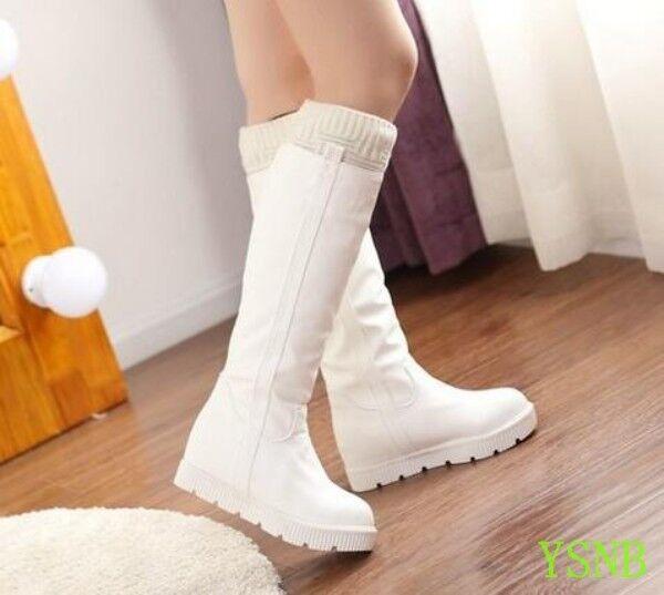 Les femmes hiver chaud bottes hautes épaissir Fourrure Doublé à Enfiler Décontracté Doux Chaussures