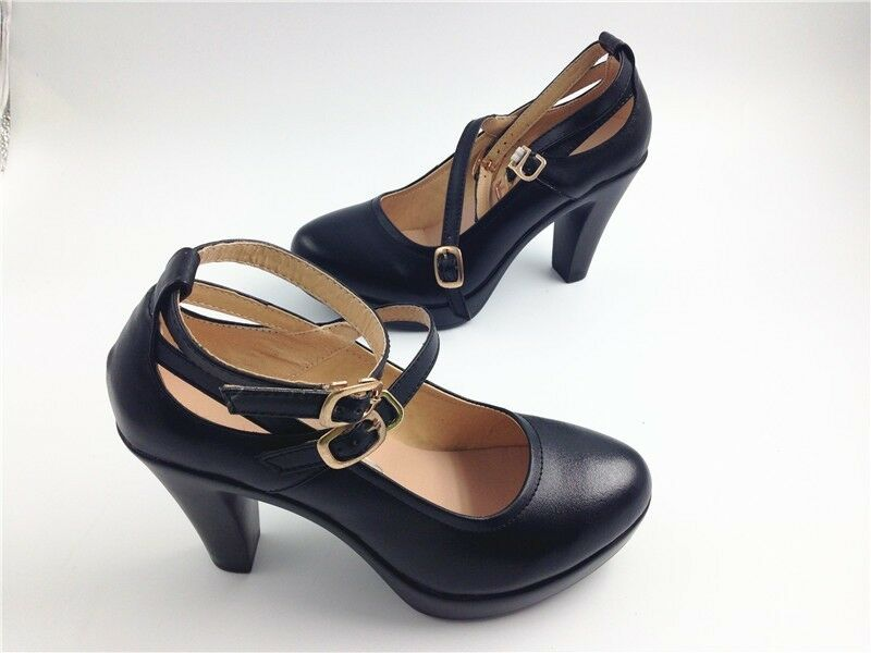 Genuine Leather donna Female High Heels Pumps nero Comfortable Work scarpeITC500