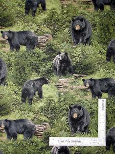 Born-Free-Wild-Animal-Black-Bear-Scenic-Cotton-Fabric-Fabriquilt-Inc-By-The-Yard