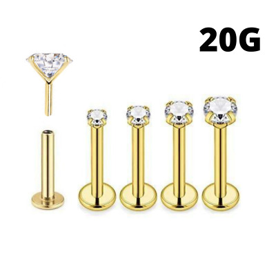 316L Surgical Steel  20g THREADLESS Labret with Cubic Zirconia Push Pins Labret Cute Earrings and nose rings