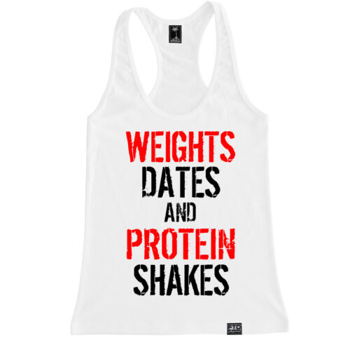 WEIGHTS DATES /& PROTEIN SHAKES WOMEN RACERBACK TANK LIFT WORKOUT GYM MOTIVATION