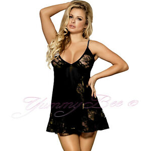 48a19aa0e53 Image is loading Yummy-Bee-Lingerie-Babydoll-Dress-Lace-Sleepwear-Sheer-