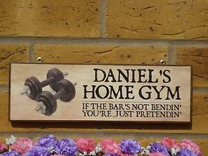 Home gym sign garage sign name sign house sign gym equipment weights