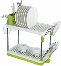 Surpahs 2-Tier Compact Dish Drying Rack Gray Color
