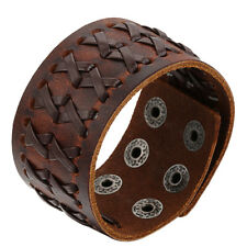 Punk Rock Wide Brown Leather Men's Cuff Bangle Bracelet Adjustable Wristband US