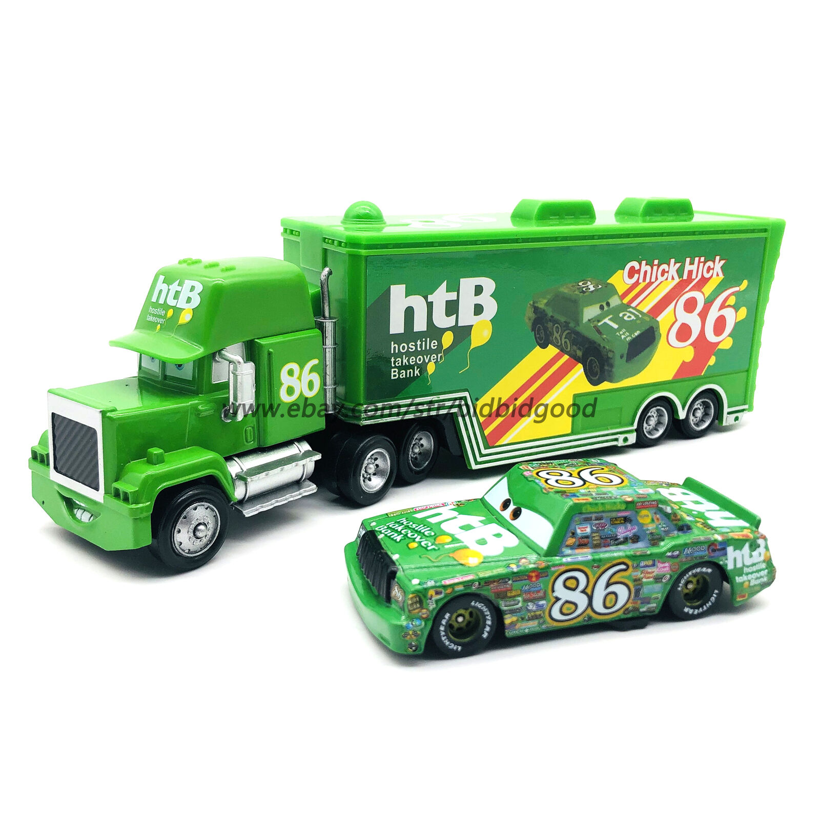 Disney Pixar Cars Chick Hicks Hauler Truck /& NO.86 Metal Car New Loose