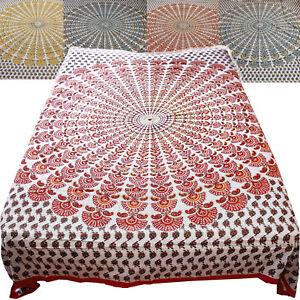 couvre-lit-couverture-100-Coton-Mandala-Blanc-colore-tissu-deco-210x240cm