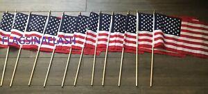 "12x18 USA Flag American Flag Stick Flag 12/"" x 18/"" Stick Flag 2 FLAGS USA SHIP"