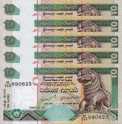 Lot 5 PCS P-115e Sri Lanka 10 Rupees UNC 2006