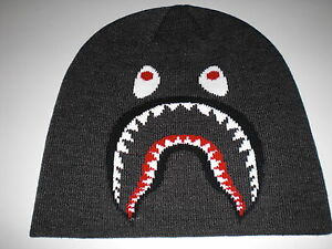 Details about Authentic A Bathing APE BAPE SHARK KNIT CAP BEANIE BLACK NAVY  NEW RARE 311a418392a