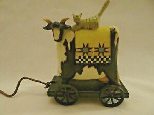 williraye studio folk art cat on a cow/steer pull toy