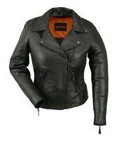 Ladies Black Leather Vented Motorcycle Jacket w Braiding, Zip Out Liner
