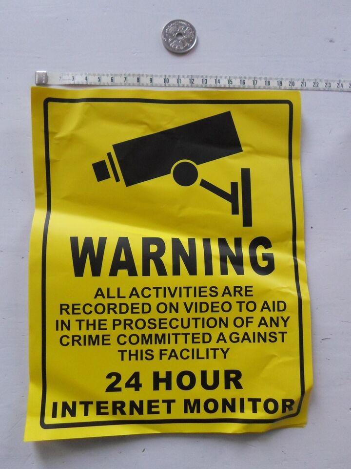 Tilbehør, Kamera overvågning klistermærke