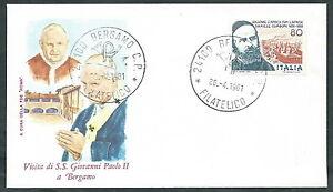 1981 Vaticano Viaggi Del Papa Bergamo - Rm1