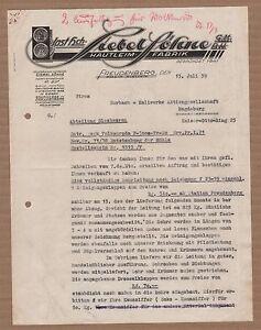 FREUDENBERG-Brief-1939-Hautleim-Fabrik-Siebel-Soehne