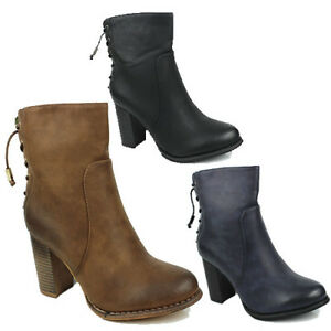 WOMENS LADIES CASUAL HIGH BLOCK HEEL BACK LACE ANKLE BOOTS SHOES SIZE 3-8