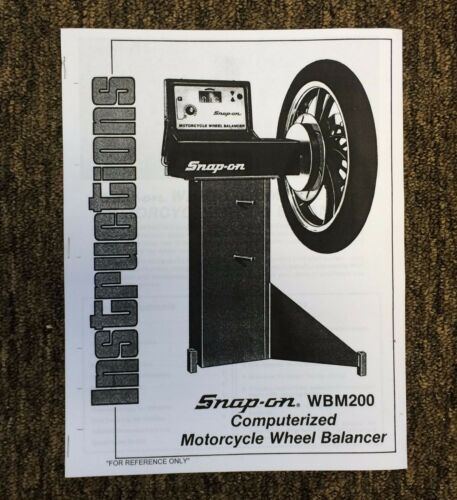 Snap On WBM200 Motorcycle Wheel Balancer Manual /& Field Service Guide Spin