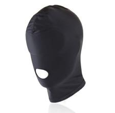 Spandex Hood Full Mask Open Mouth 1 Hole Stretchy Black Gimp Mask Hood