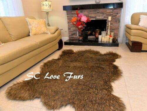 3/' x 5/' Russian Grizzly Bearskin Faux Fur Rustic Accents Area Rug Cottage