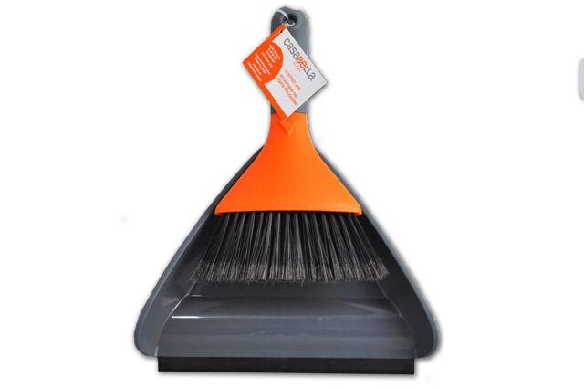 Casabella Graphite and Orange Dustpan and Brush Set