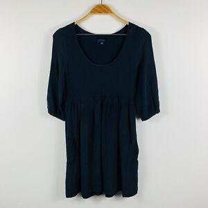 Witchery-Womens-Black-Dress-Size-8-Silk-Blend-Long-Sleeve-Casual-Sheath-Dress