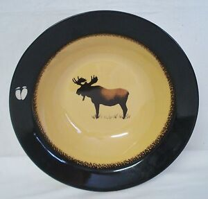 Brushwerks Moose Large Rim Soup Bowl Big Sky Carvers 9 1/4\