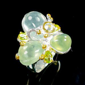 Wedding-Art-Design-Natural-Prehnite-925-Sterling-Silver-Ring-Size-8-25-R93681