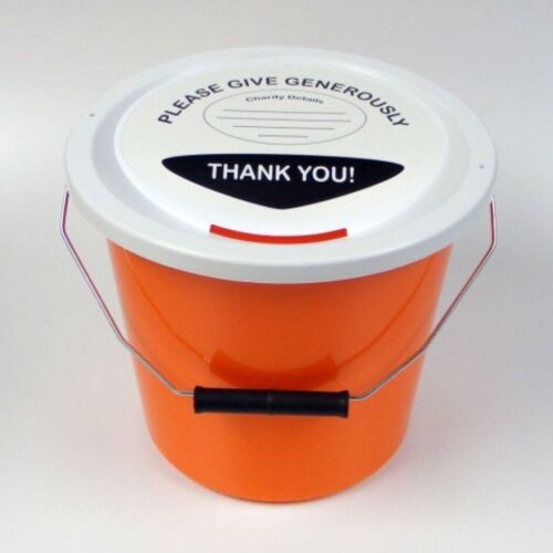 New 1 Large Charity Money Donation Fundraising bucket ties /& Lid label