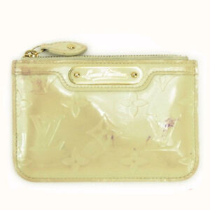 Louis-Vuitton-Coin-Purse-Vernis-Beige-Woman-Authentic-Used-Y4871