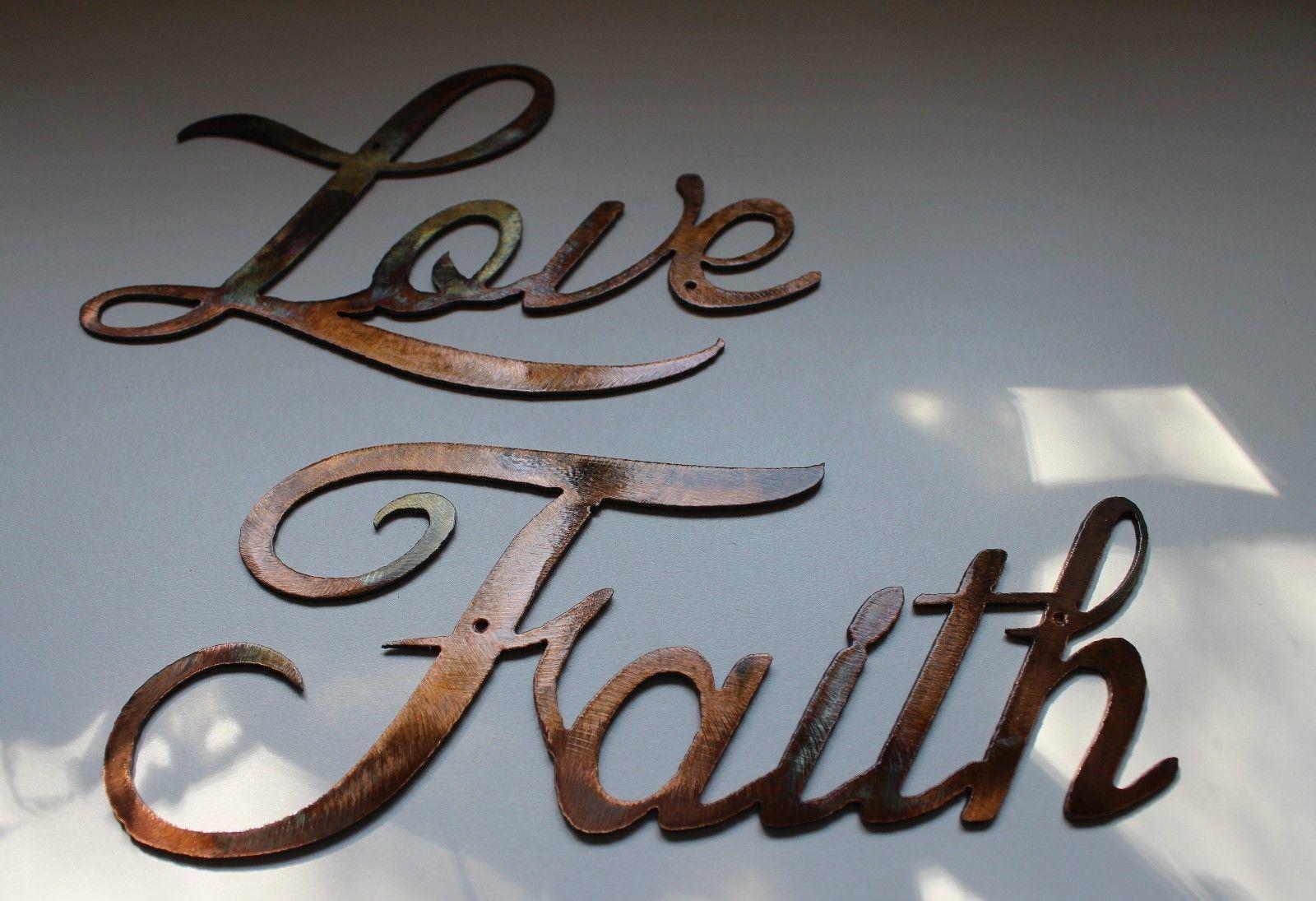 13   Love Faith Hope Parole Parole Parole Arte da Parete in Metallo Accenti 5a7906