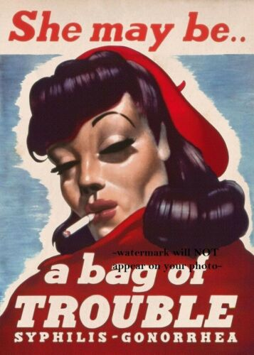 Bag of Trouble World War 2 Recruitment Propaganda Poster PHOTO Soldiers Beware