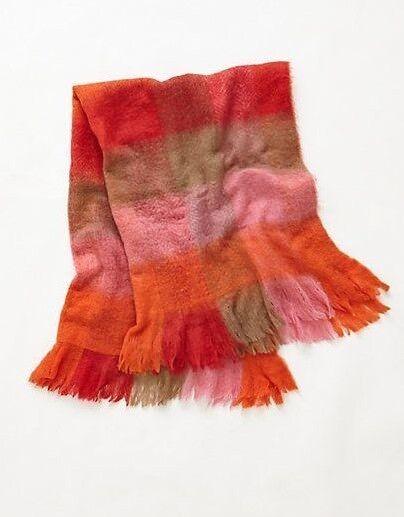Anthropologie WOVEN GRADIENT Throw Blanket Fringe Wool Pink orange Brown NWT