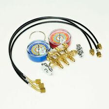 Brass Charging Manifold With 24 Hoses R600a R290 R134a Hvac Refrigeration
