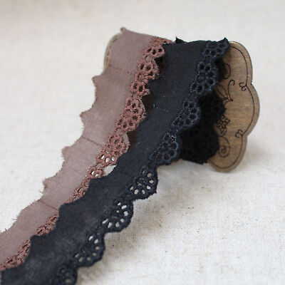 """YH1160 laceking2013 14Yds Broderie Anglaise cotton eyelet lace trim 0.8/"""" 2cm"""