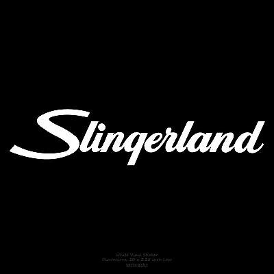 "Slingerland Drums logo 10"" X 2.25"" White logo sticker decal for bass drumhead"