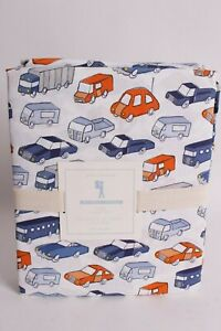 NWT-Pottery-Barn-Kids-Cars-twin-sheet-set-blue-navy-orange