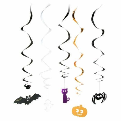 10 X FOIL SWIRLS DECORATIONS HALLOWEEN SPOOKY SPIDER SKULL GHOST PUMPKIN BATS