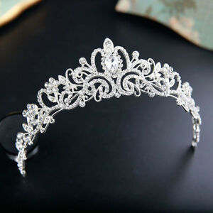 Princess-Silver-Wedding-Bridal-Crystal-Rhinestone-Prom-Hair-Tiara-Crown-Headband