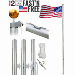 20-25-FT-Heavy-Duty-Flag-Pole-Inground-Residential-Flagpole-Kit-US-American-Flag