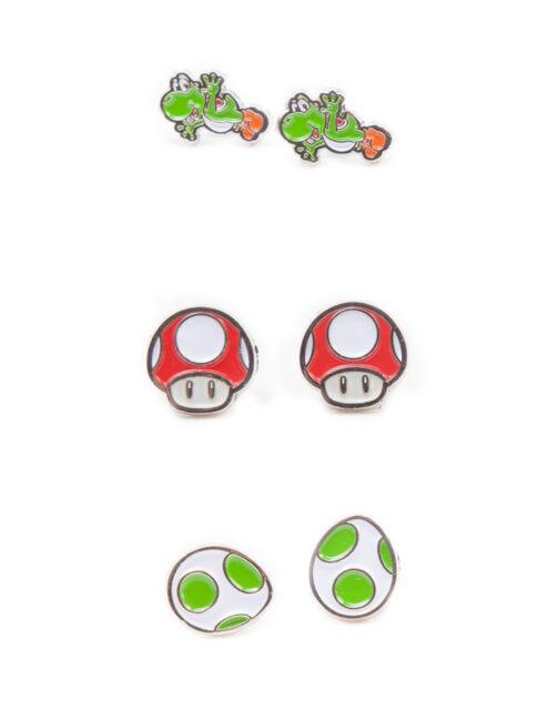 SUPER MARIO BROS - YOSHI, EGG & RED MUSHROOM SET OF 3 PAIR STUD EARRINGS