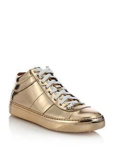 800 jimmy choo gold bells metallic leather sneakers shoes 40 9 5 a rh ebay com