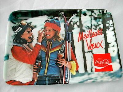 * Coca Cola® Petit Plateau Des Annees 70 Meilleurs Voeux 11.5 Cm X 11 Cm 100% Origineel