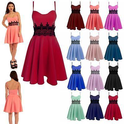 Womens Ladies Sleeveless Waist Lace Flared Franki Skater Mini Dress UK Plus Size